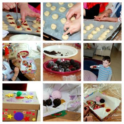 הילדים מכינים עוגיות עם ריבה, כדורי שוקולד, שיפודי מרשמלו ותותים, ומקשטים קופסאות עבור משלוחי המנות.