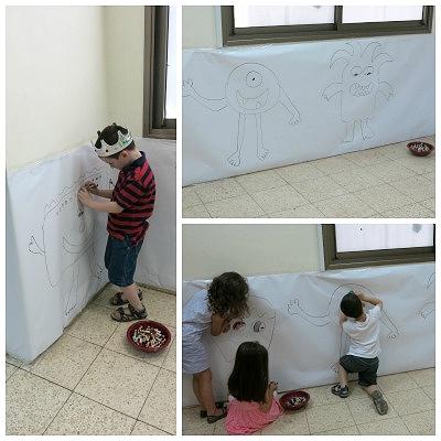 ציורי קיר של מפלצות - צובעים ומקשטים