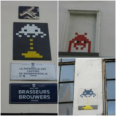 Space Invaders על קירות בבריסל