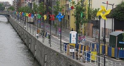 שבשבות צבעוניות לאורך הנהר